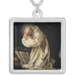 St. Bruno  Praying in the Desert, 1763 Square Pendant Necklace