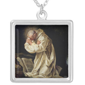 St. Bruno  Praying in the Desert, 1763 Silver Plated Necklace