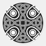 St. Brynach's Cross black and white Round Sticker