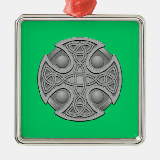 St. Brynach's Cross Classic Square Metal Christmas Ornament
