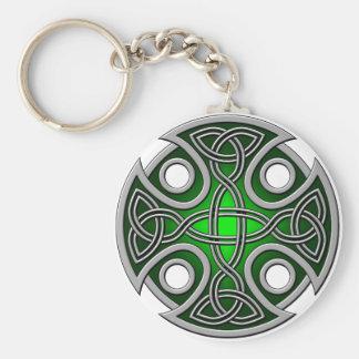 St. Brynach's Cross green and grey Basic Round Button Keychain