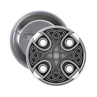 St. Brynach's Cross grey and grey Pinback Button