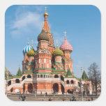 St. Catedral de la albahaca en Moscú Pegatina Cuadrada