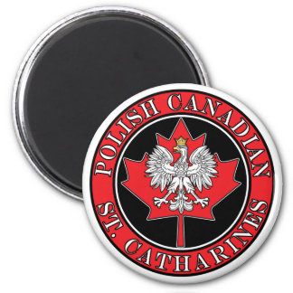 St Catharines Round Polish Canadian Leaf 2 Inch Round Magnet