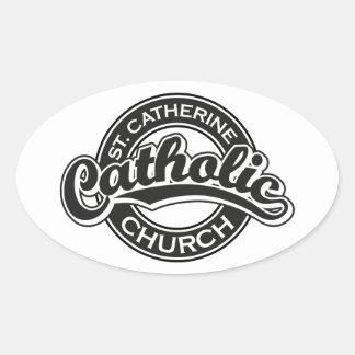 St. Catherine Catholic Church Black and White Oval Sticker