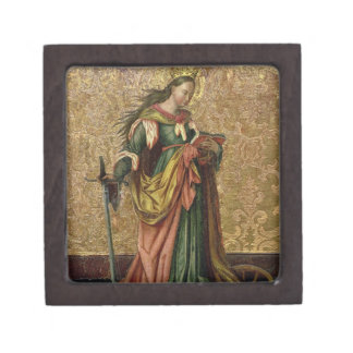 St. Catherine de Alexandría (aceite en el panel) 2 Cajas De Recuerdo De Calidad