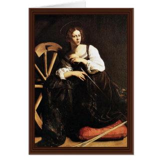 St. Catherine de Alexandría de Miguel Ángel Merisi Tarjeta De Felicitación