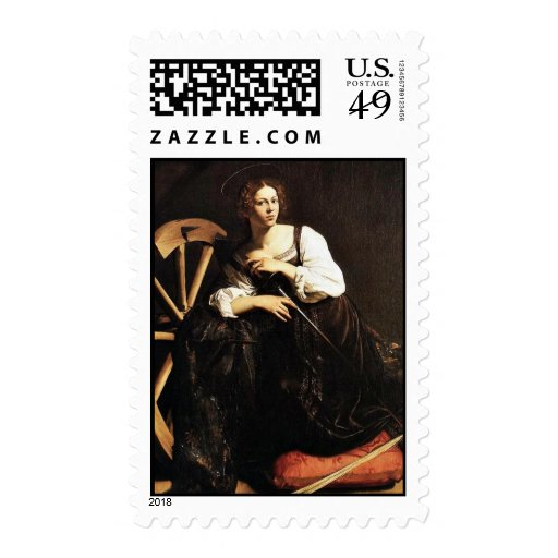 St. Catherine Of Alexandria By Michelangelo Merisi Postage Stamp