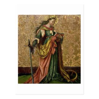 St. Catherine of Alexandria (oil on panel) 2 Postcard