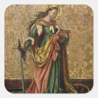 St. Catherine of Alexandria (oil on panel) 2 Square Sticker