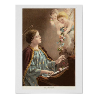 St. Cecelia at Piano with Putti Poster