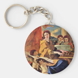 St. Cecilia By Poussin Nicolas (Best Quality) Basic Round Button Keychain