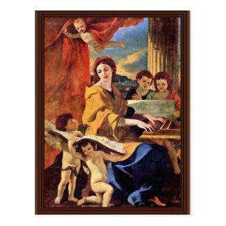 St. Cecilia By Poussin Nicolas (Best Quality) Postcard