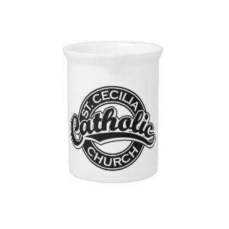 St. Cecilia Catholic Church Black and White Drink Pitcher