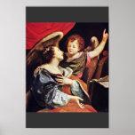 St Cecilia con un ángel de Vouet Simon Impresiones