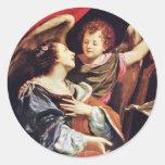 St Cecilia con un ángel de Vouet Simon Etiquetas Redondas