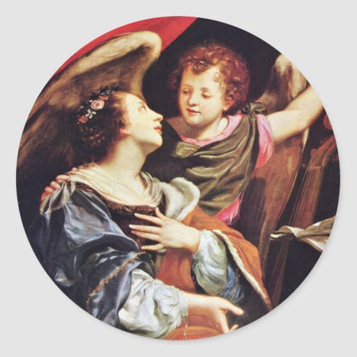 St Cecilia con un ángel de Vouet Simon Pegatina Redonda