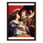 St Cecilia con un ángel de Vouet Simon Postales