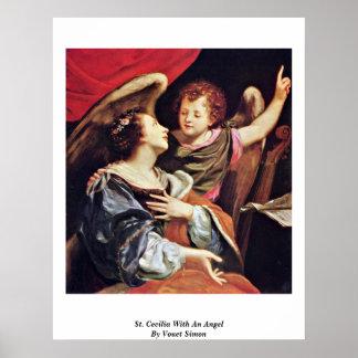 St Cecilia con un ángel de Vouet Simon Póster