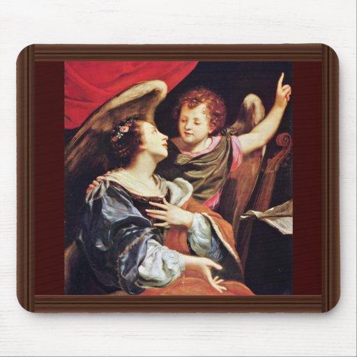 St Cecilia con un ángel de Vouet Simon Tapete De Ratón