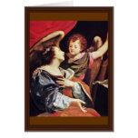 St Cecilia con un ángel de Vouet Simon Felicitación