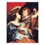 St Cecilia con un ángel de Vouet Simon Tarjetón