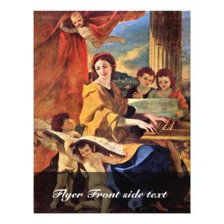 """St Cecilia de Poussin Nicolás (la mejor calidad) Folleto 8.5"""" X 11"""""""