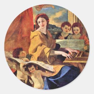 St Cecilia de Poussin Nicolás (la mejor calidad) Pegatina Redonda