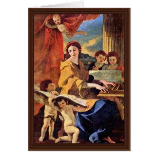 St Cecilia de Poussin Nicolás (la mejor calidad) Tarjeta De Felicitación
