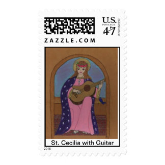 St. Cecilia with Guitar Stamp