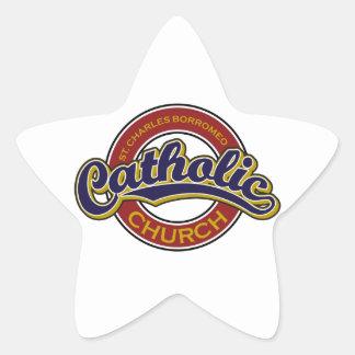 St. Charles Borromeo Catholic Church Blue on Red Star Sticker