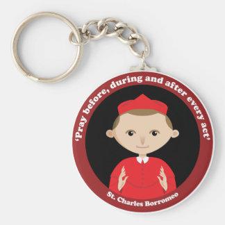 St. Charles Borromeo Basic Round Button Keychain