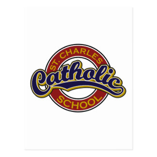 St. Charles Catholic School Blue on Red Postcard