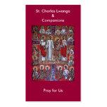 St Charles Lwanga y tarjeta del rezo de los Tarjetas De Visita