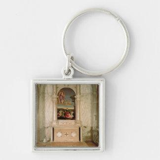 St. Christina Altarpiece Silver-Colored Square Keychain