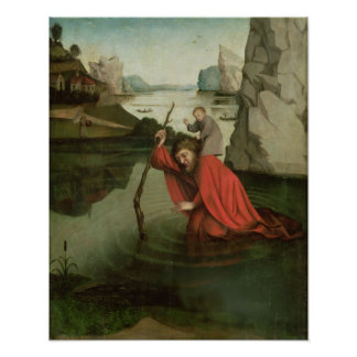 St. Christopher Carrying the Christ Child Poster