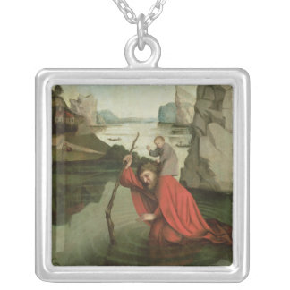 St. Christopher Carrying the Christ Child Silver Plated Necklace