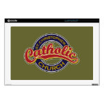 St. Christopher Catholic Church Red on Blue Decal For Laptop