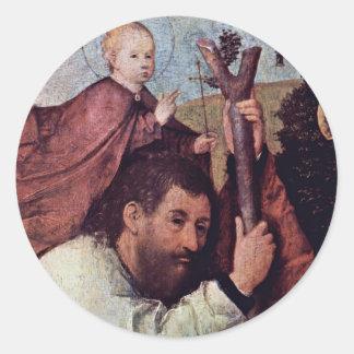 St Christopher detalle Por Hieronymus Bosch Etiqueta Redonda