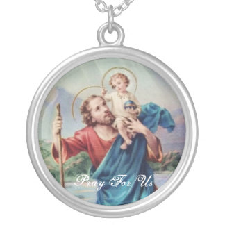 St Christopher Round Pendant Necklace
