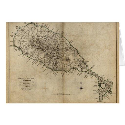 St. Christopher (St. Kitts), Caribbean Map Card