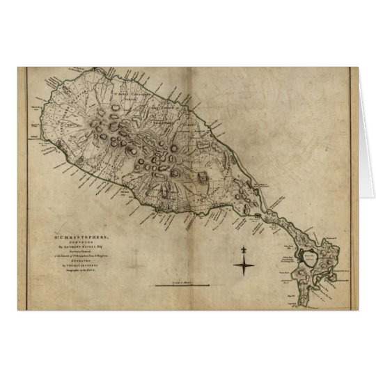 St. Christopher (St. Kitts), Caribbean Map Card