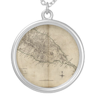 St. Christopher (St. Kitts), Caribbean Map Round Pendant Necklace