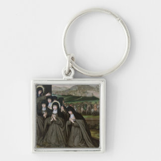 St. Claire con su hermana, Inés y monjas Llavero Cuadrado Plateado