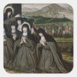 St. Claire con su hermana, Inés y monjas Calcomanías Cuadradas