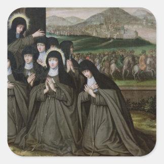 St. Claire con su hermana, Inés y monjas Pegatina Cuadrada