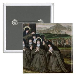 St. Claire con su hermana, Inés y monjas Pin Cuadrada 5 Cm