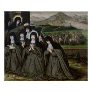 St. Claire with her Sister, Agnes and Nuns Poster