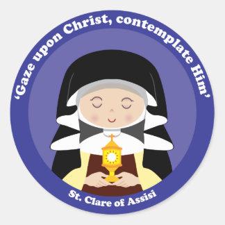 St. Clare de Assisi Pegatinas Redondas