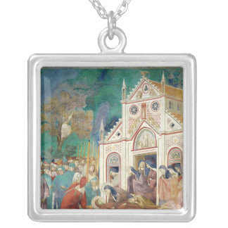 St. Clare Embraces the Body of St. Francis Silver Plated Necklace